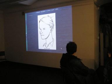 presentando Identidades en Viena. Caricatura de Petra hecha por Alonso RossRA