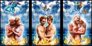 """From one of my favorite modern decks, """"The Cosmic Tribe Tarot"""". Stevee Postman (the creator) include both straight and gay Lovers cards in the deck."""