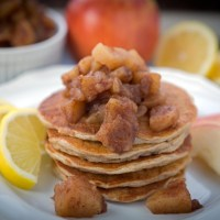 No Butter, No Flour Oatmeal Pancakes with Warm Apple Compote