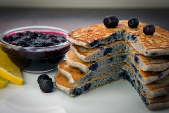 Oat Flour Blueberry Pancakes