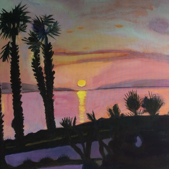 Sunset at the seawalk, Paphos.