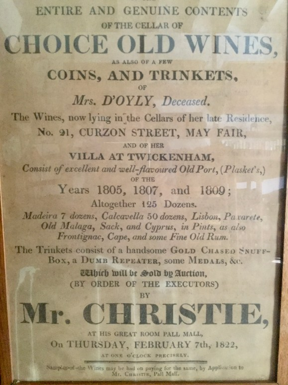 Photo of Mr. Christie's poster advertising Port style wines including Cyprus wine by auction in 1822.