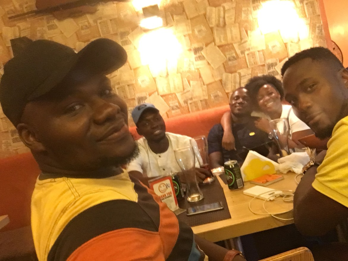 Enjoyment at Grills in n Out L-R: Aramide, Olumide, Joseph, ETP, Samuel