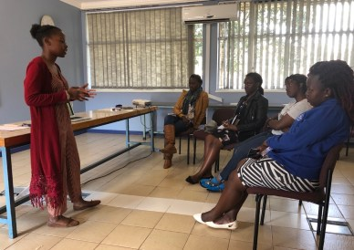 Beryl, a fresh TNHRT Trainee, taking her session on Child Abuse