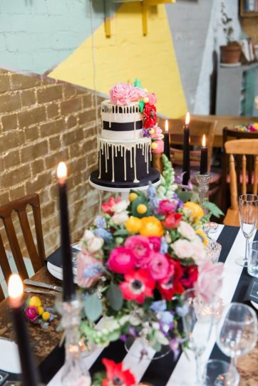 Colour pop and monochrome table setting- Elizabeth Weddings