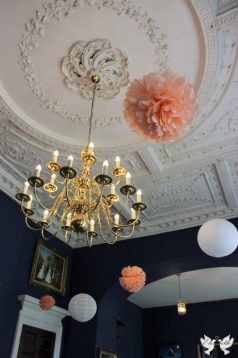 Paper lanterns and pom poms in the bar- Styling by Elizabeth Weddings