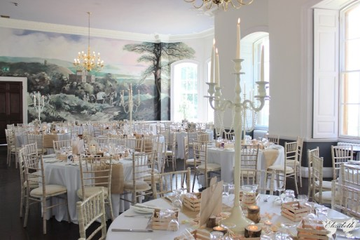 Peach and white, candelabras at KIngs Weston House- Elizabeth Weddings