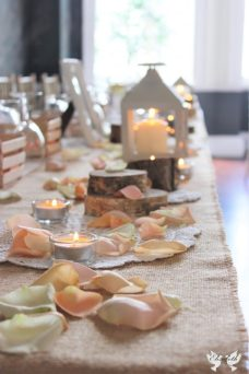 Peach, lanterns, petals, hessian- styling by Elizabeth Weddings