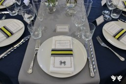 Contemporary table styling in grey, yellow and navy blue- Elizabeth Weddings
