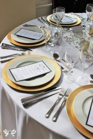 Gold Charger plates- Elizabeth Weddings