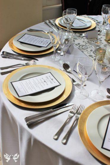 Gold Charger plates- Elizabeth Weddings