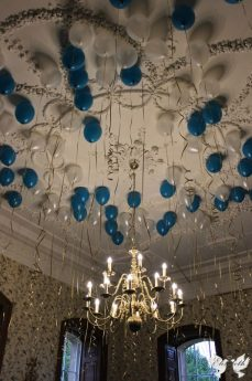 Turquoise, white and gold helium balloons in the Oak room- Elizabeth Weddings