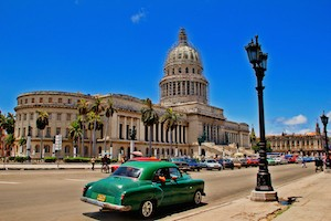 HAVANA,CUBA-MAY 04.2013 Old retro classic american car and Capitol building in Havana,Cuba Photo taken on: May 4, 2014