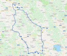mapa do roteiro de carro pela Toscana