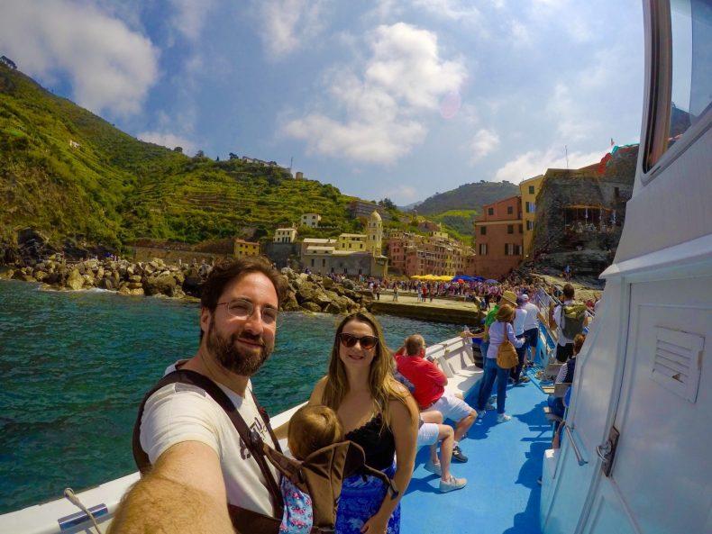 No barco, Cinque Terre