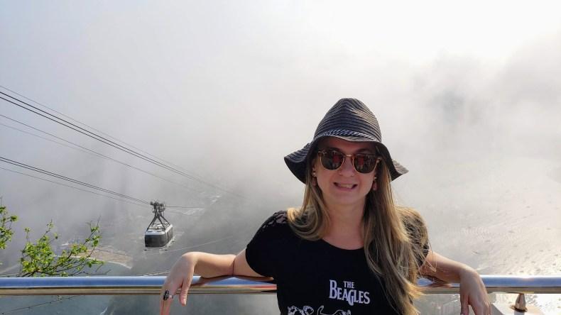 Um pouco nublado. Em cima, no Pão de Açúcar, Rio de Janeiro