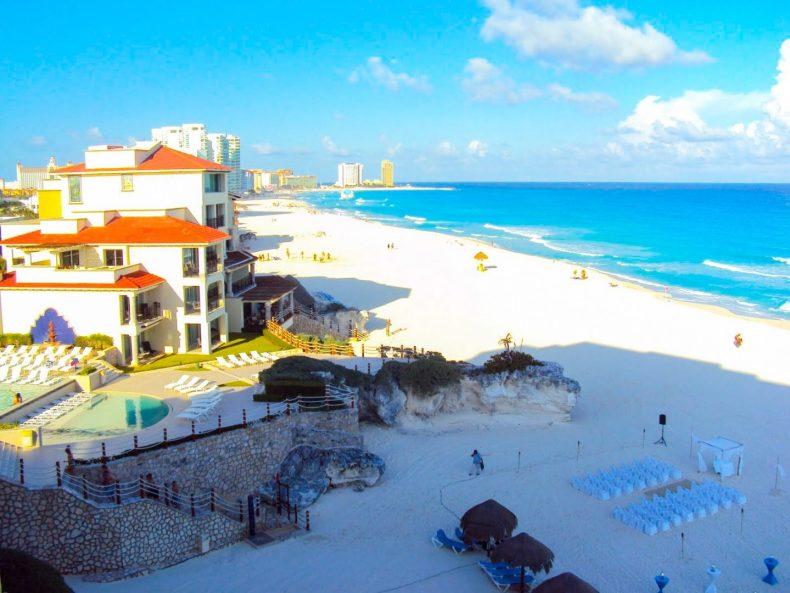 Janela do quarto de Hotel em Cancún na Riviera Maya