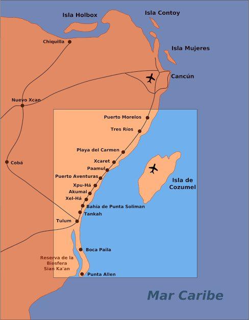 mapa da Riviera Maya