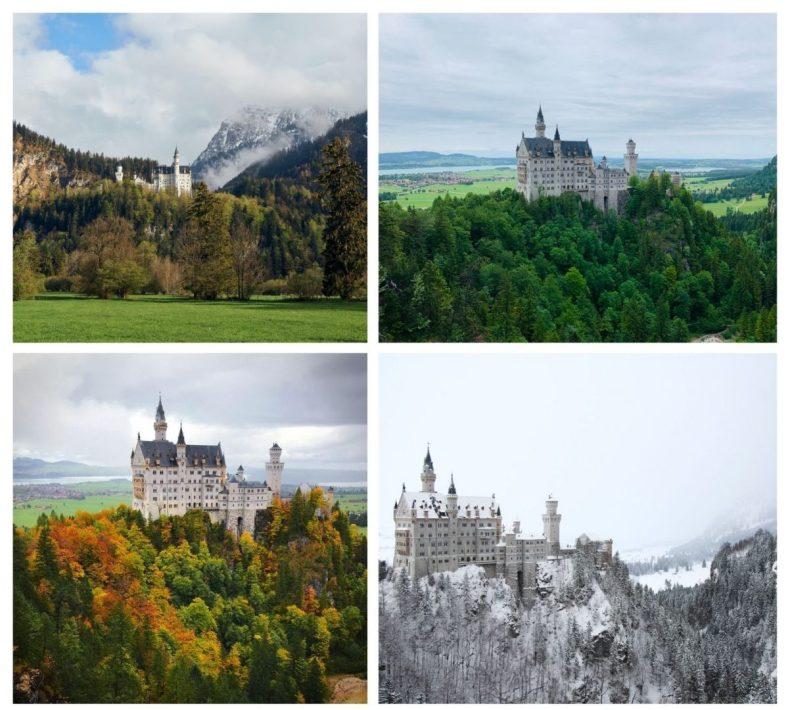 Castelo Neuschwanstein nas quatro estações