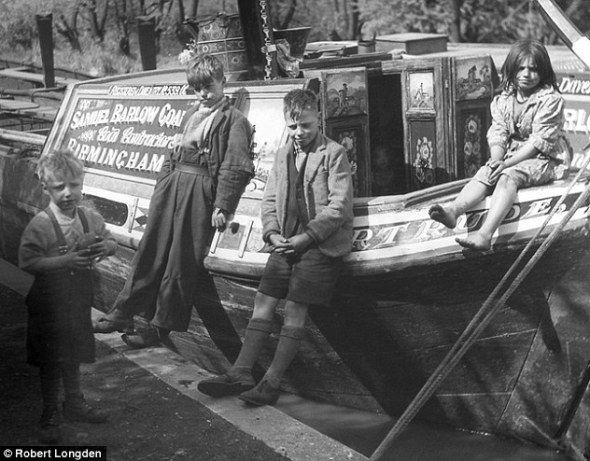 Narrow boat art- Victorian canal boat with children.