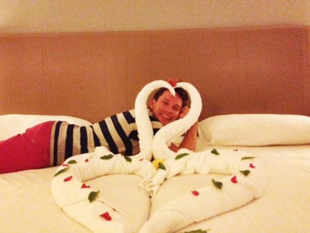 Jaz Aquamarine Towel Art - swan hearts