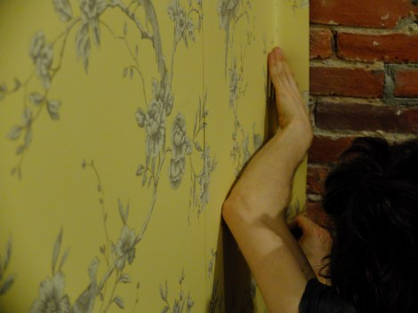 It is extremely difficult to wallpaper next to a brick wall. Note.