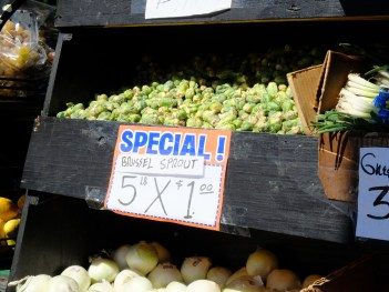 And, just to further tempt us for a move back to the Bay... 5 POUNDS OF BRUSSEL SPROUTS FOR $1! California, I miss you so.