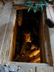 Working down in the crawl space. My little Gollum.