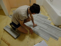Working out the floor tile pattern. Of course we pick the diagonal, ie SO many extra cuts!