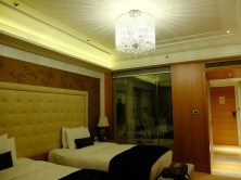 Our fanciest hotel room in Beijing - at the Sofitel. Look at that chandalier!