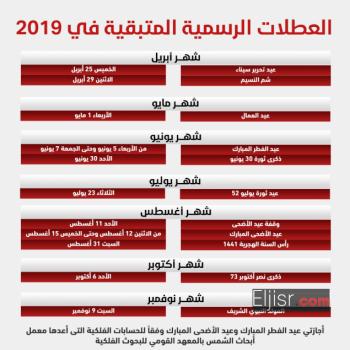 الإجازات والعطلات الرسمية لعام 2019
