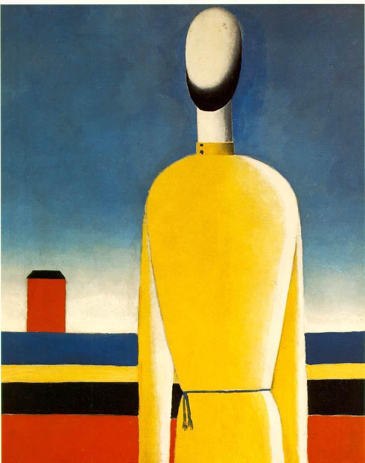 Complejo presentimiento, figura de espaldas con camiseta amarilla (1928-32), Kasimir Malevich