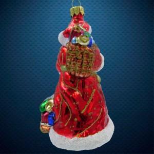 Стеклянная елочная игрушка Дед Мороз с санками 3