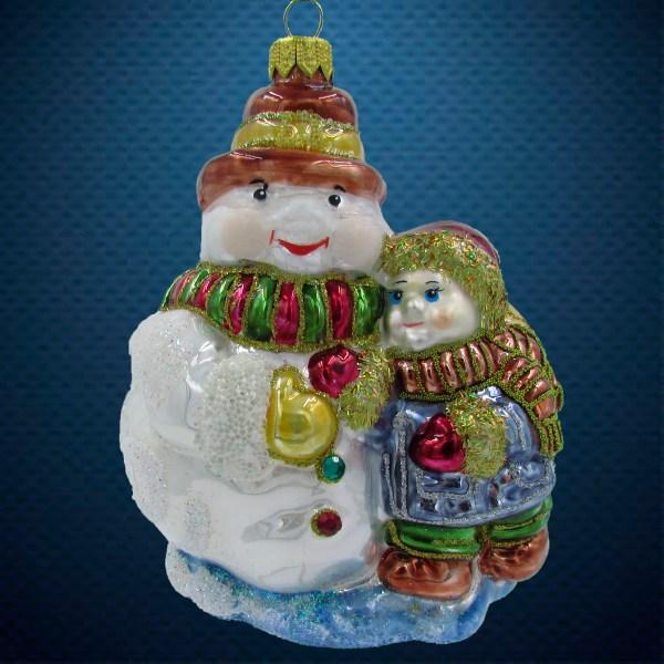 Елочная игрушка Снеговик с мальчиком Irena Co