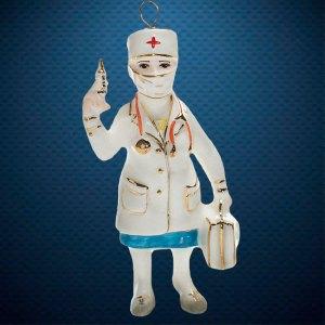 Медсестра Фарфоровая елочная игрушка из серии ВСЕ РАБОТЫ ХОРОШИ Фарфоровая Мануфактура