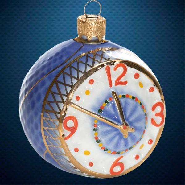 Керамический елочный шар-часы Фарфоровая Мануфактура
