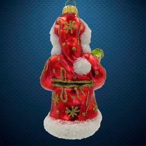 Стеклянная елочная игрушка Дед Мороз с солдатиком и колокольчиком 3