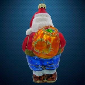 Стеклянная елочная игрушка Санта с сахарной палочкой 3