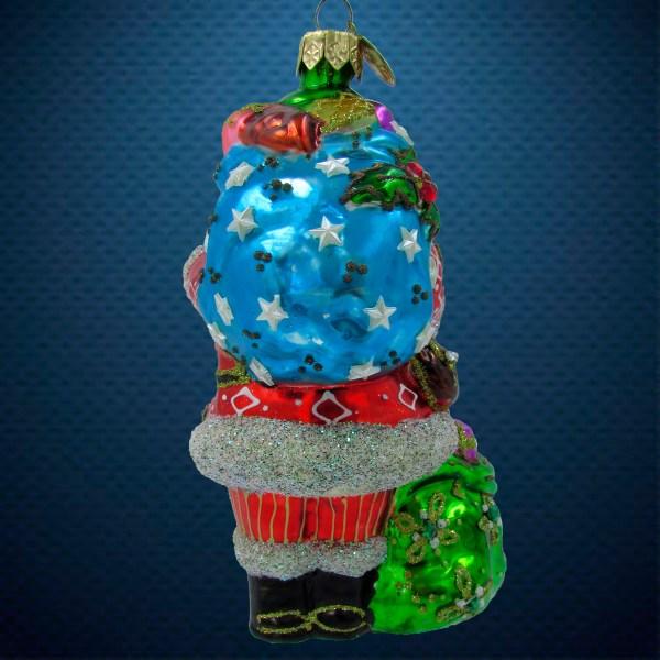 Стеклянная елочная игрушка Санта с двумя мешками 2