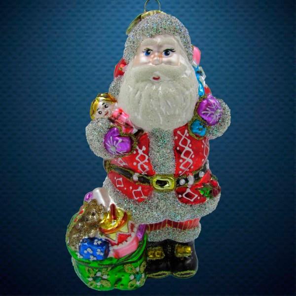 Стеклянная елочная игрушка Санта с двумя мешками 1