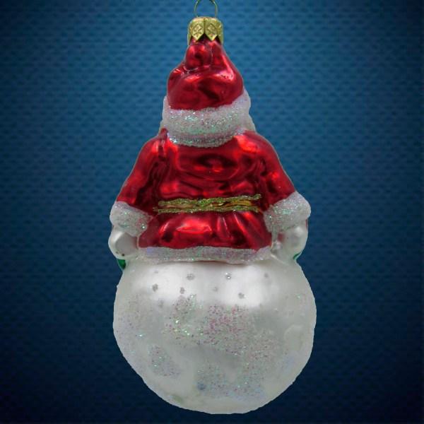 Стеклянная елочная игрушка Санта на снежном шаре 2