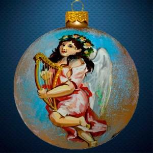 Стеклянный елочный винтажный шар Ангел с лирой