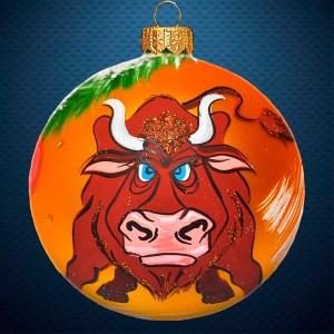 Стеклянный елочный винтажный шар символ года Бык