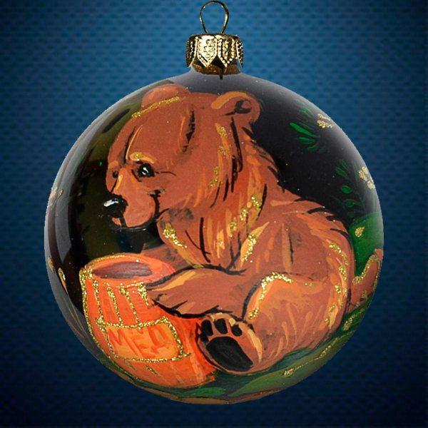 Стеклянный елочный винтажный шар из серии Птички и звери Медведь с бочкой меда