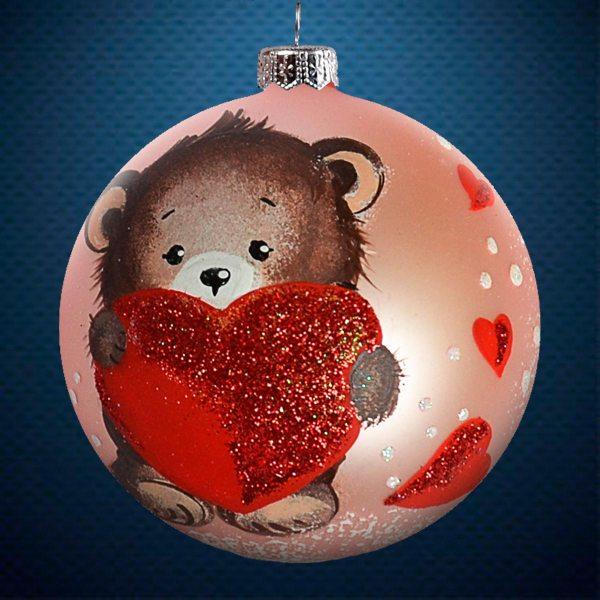 Стеклянный елочный винтажный шар из серии Птички и звери Медвежонок с сердечком