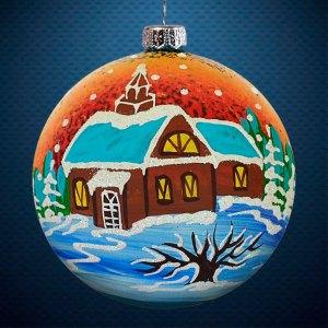 Стеклянный елочный винтажный шар Пейзажи Дом у реки