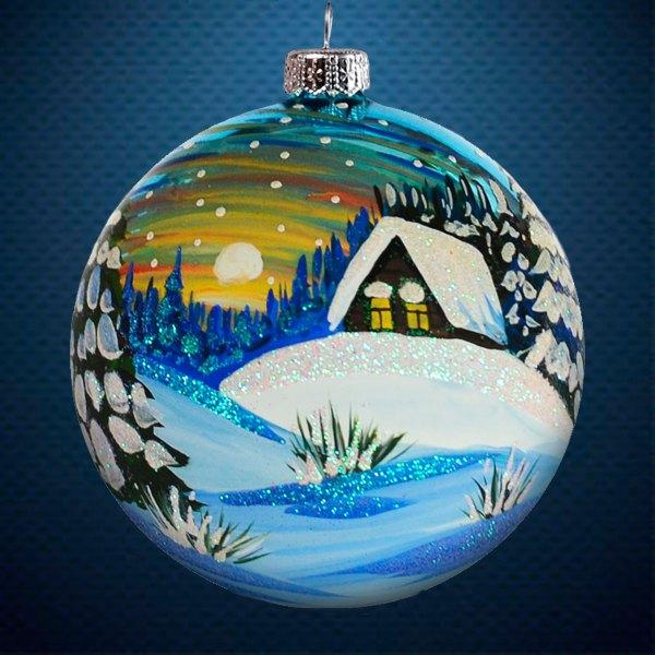 Стеклянный елочный винтажный шар Пейзажи Зимний закат