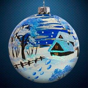 Стеклянный елочный винтажный шар Пейзажи Следы к дому