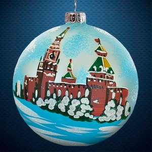Стеклянный елочный винтажный шар Города мира Московский Кремль