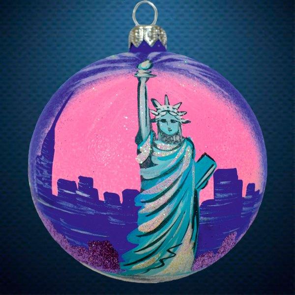 Стеклянный елочный винтажный шар Города мира Нью-Йорк